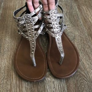 Distressed studded sandals